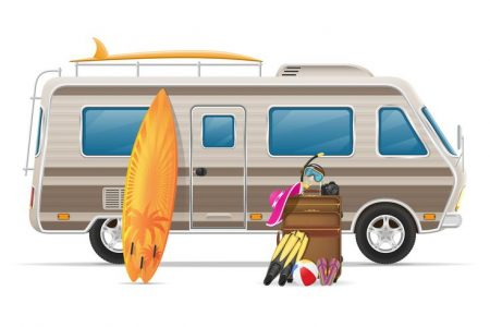 car-van-caravan-camper-mobile-home-with-beach-accessories-vector-illustration